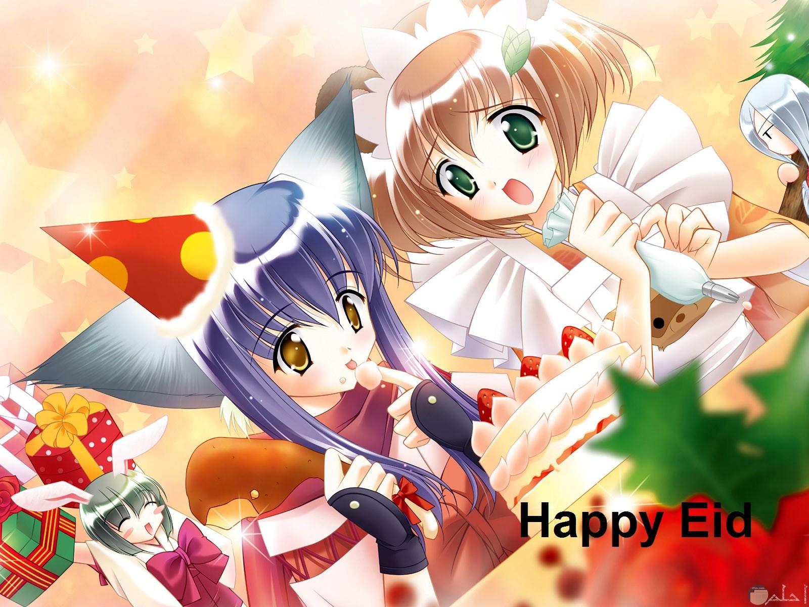 رسم لبنتان أنمي و فرحة العيد و الإحتفال و مكتوب على الصورة عيد سعيد.