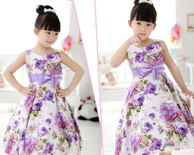 فستان بنوتة للصيف فيونكة موف وورد