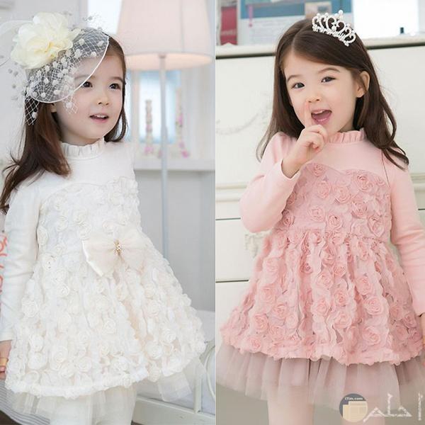 فستان كشمير وابيض لبنات صغيرات