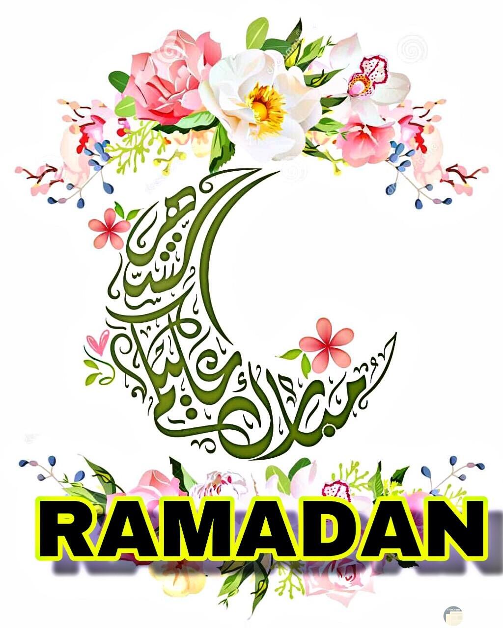مبارك عليكم شهر رمضان فى صورة تهنئة.