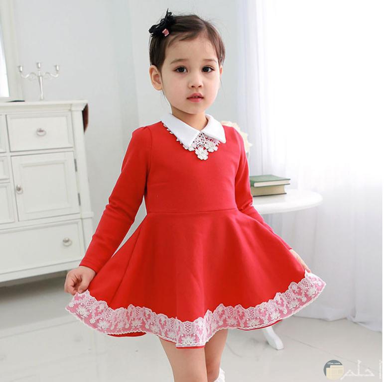 فستان بنوتة احمر مودرن
