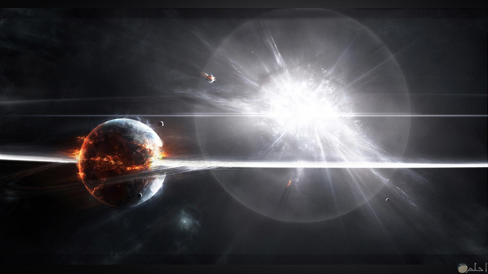 صورة الشمس و كوكب.