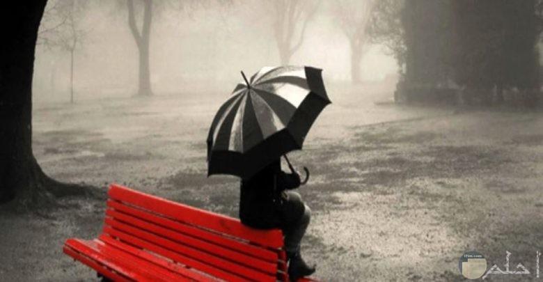 صورة بروفايل لفتاة تجلس تحت المطر.