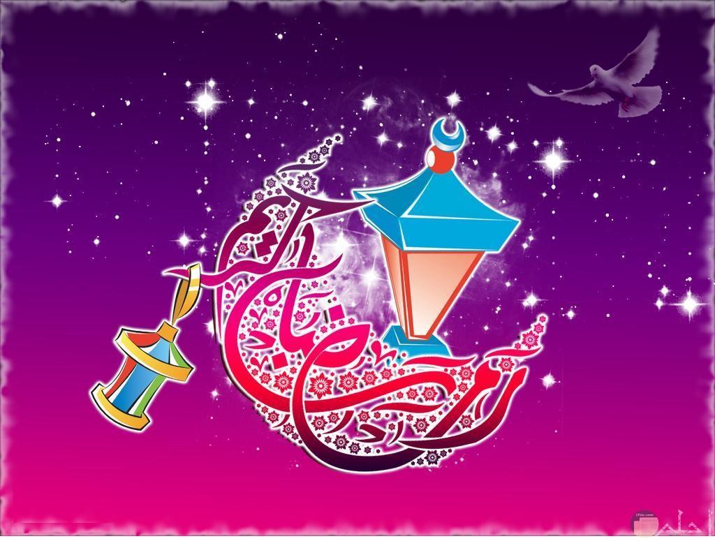 للتهنئة بشهر رمضان بالهلال و معلقة الفوانيس به.