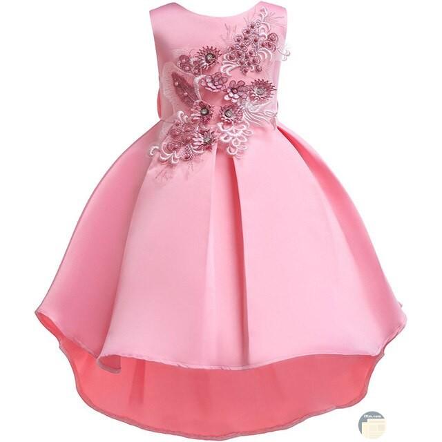 فستان طفلة سواريه باللون الزهري