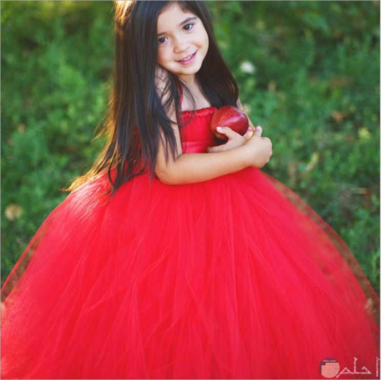 فستان سواريه للاطفال احمر شيفون