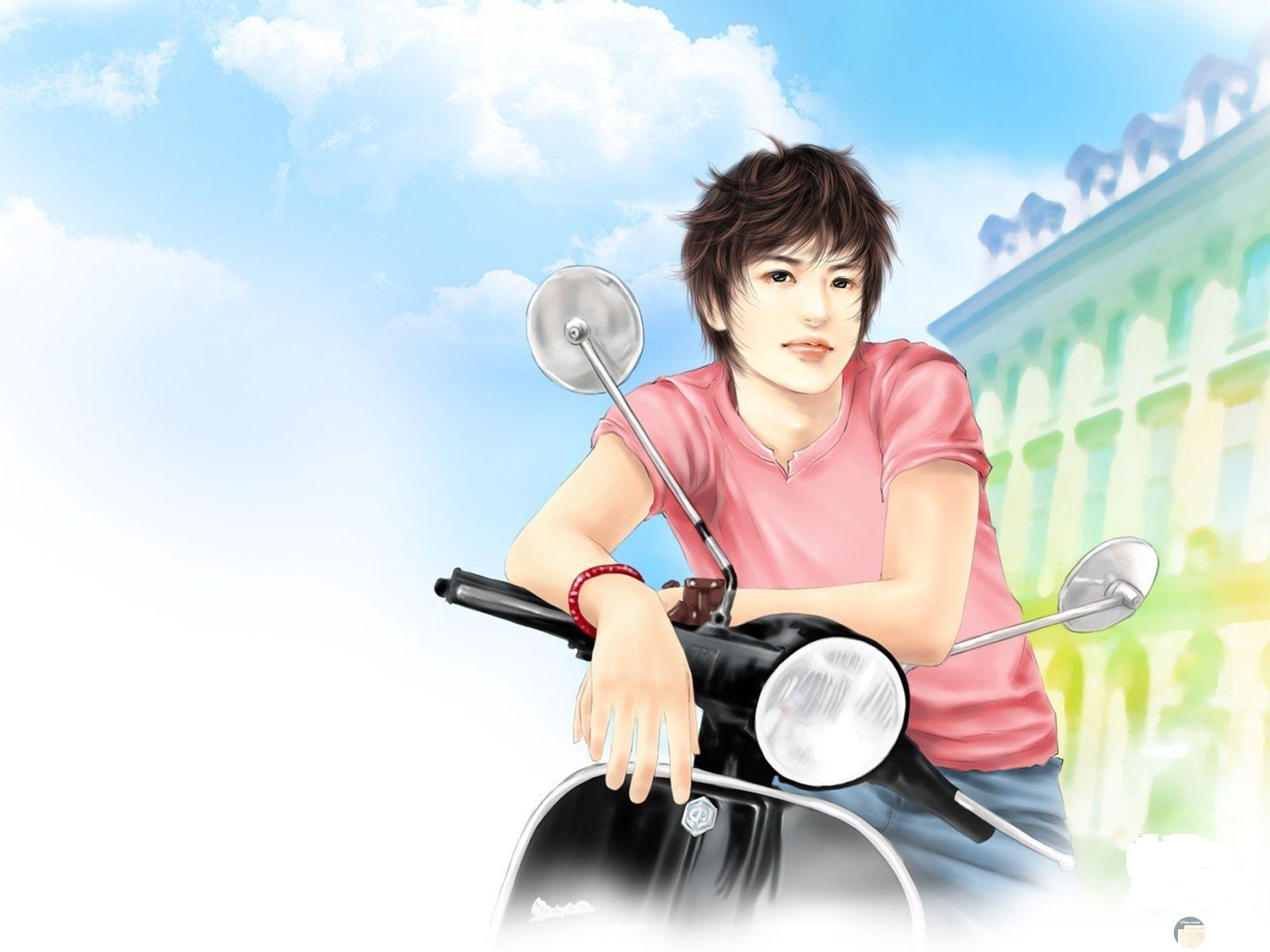 رسمة شاب كول مع دراجة نارية.