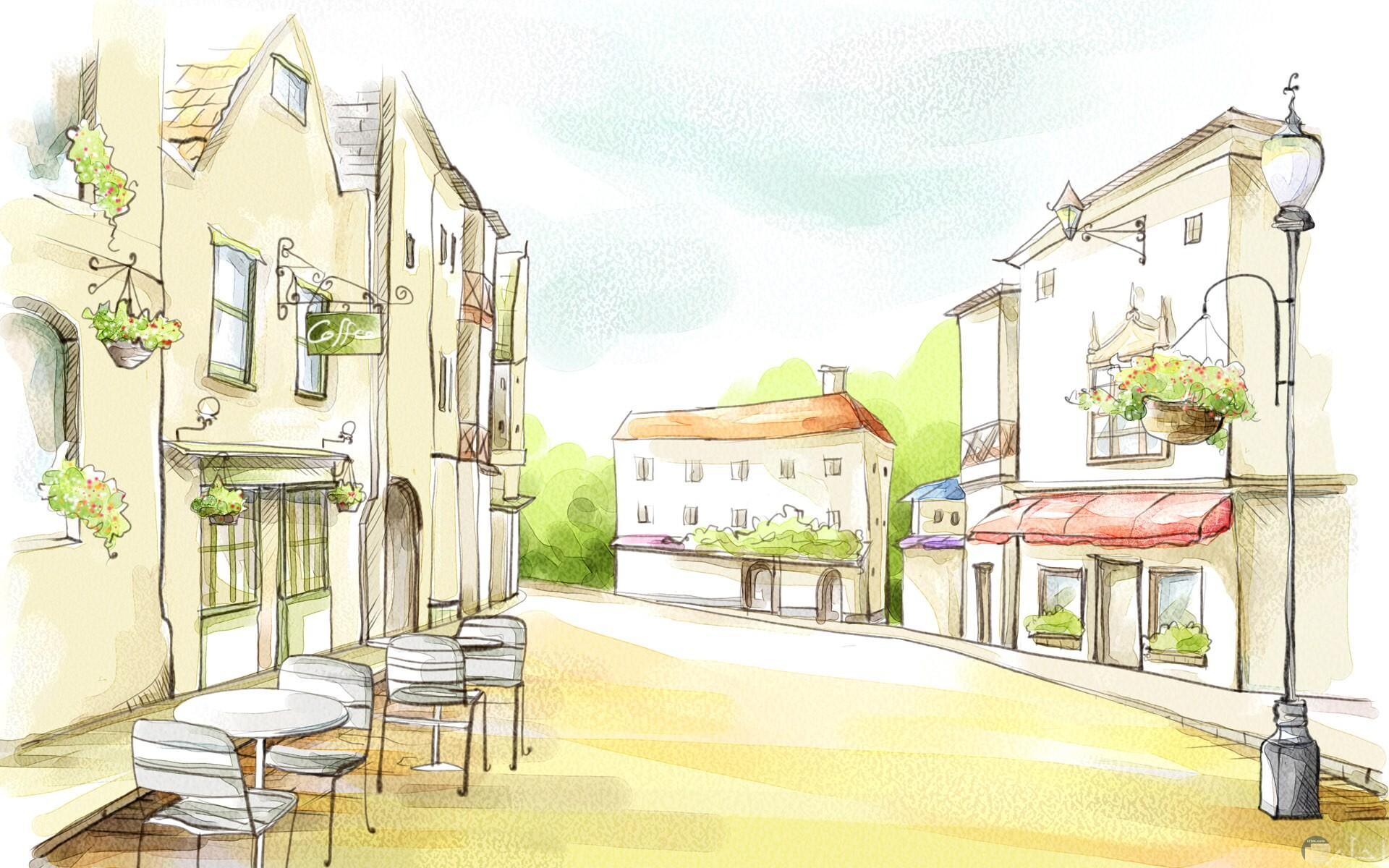رسومات للبيوت و الشوارع في قرية صغيرة.