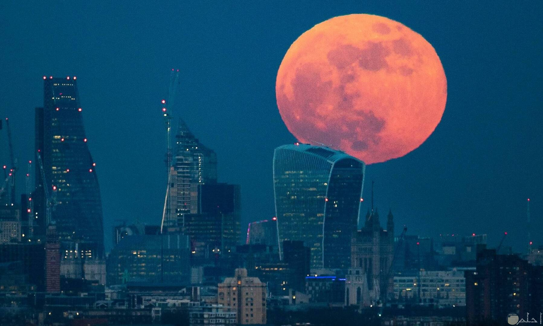 صورة حلوة للقمر و نوره الجميل فوق البنايات يعلو.