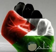 علم فلسطين مرسوم فى قبضه يد