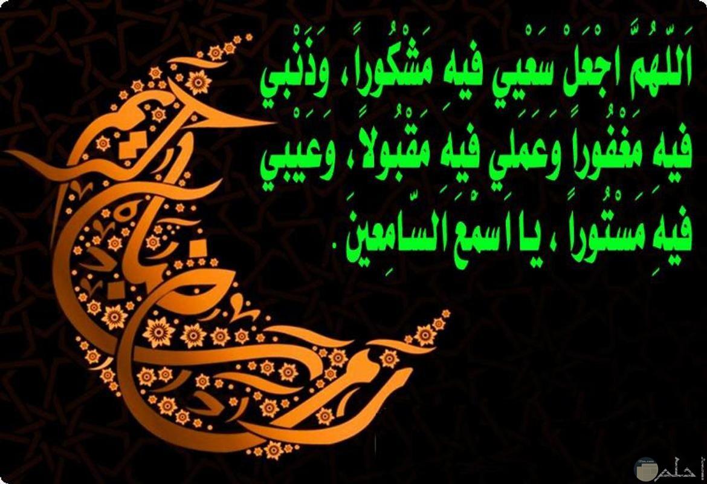 اللهم اجعل سعيي فية مشكورا وذنبي فية مغفورا وعملى فية مقبولا