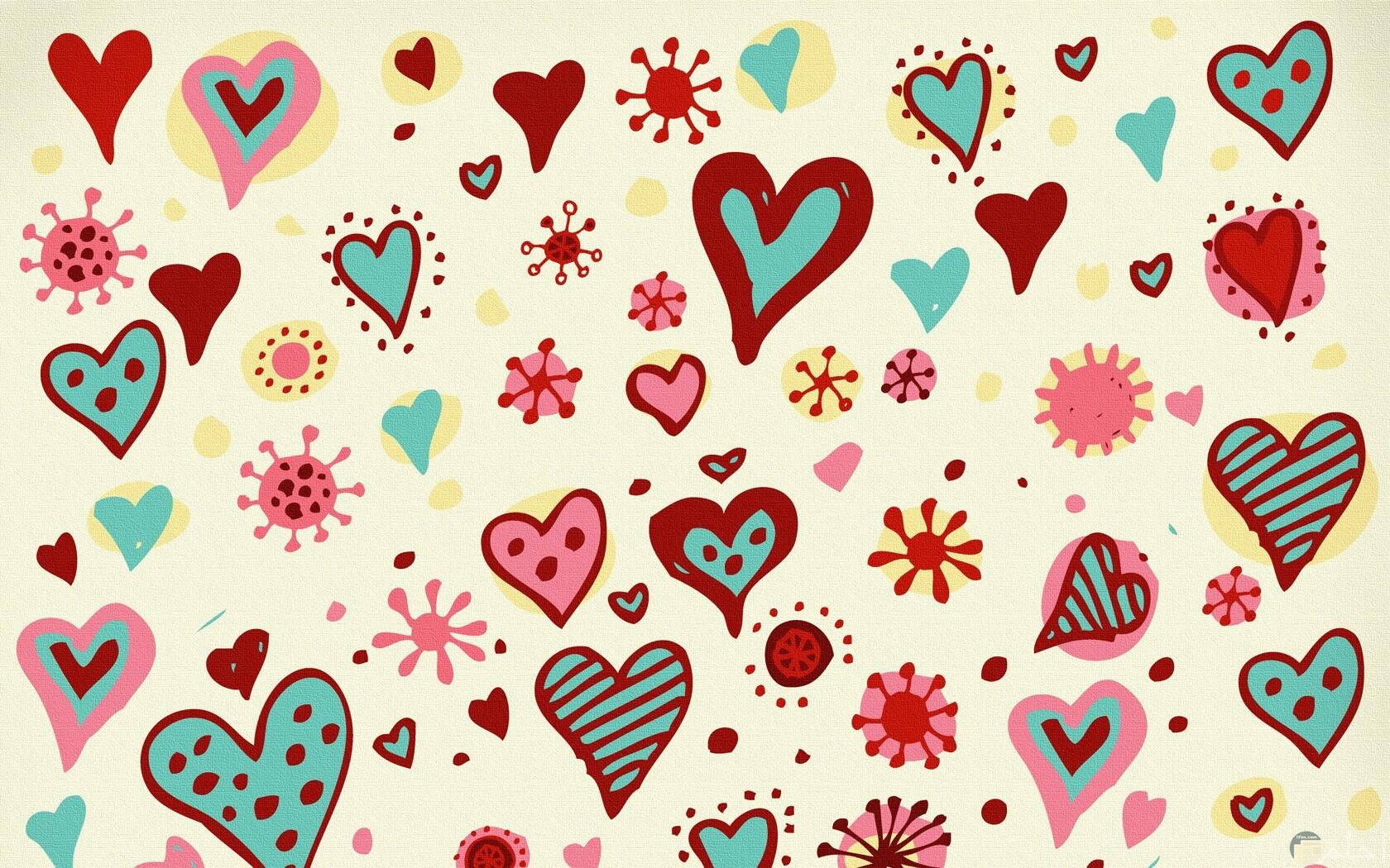 قلوب ملونه