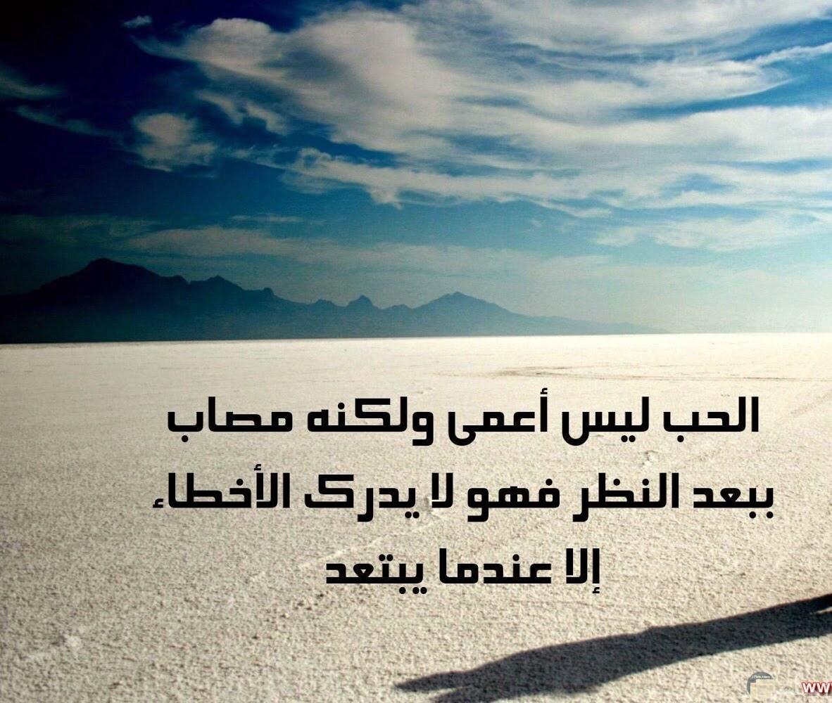 الحب ليس اعمي ولكنه مصاب ببعد النظر فهو لا يدرك الاخطاء إلا عندما يبتعد