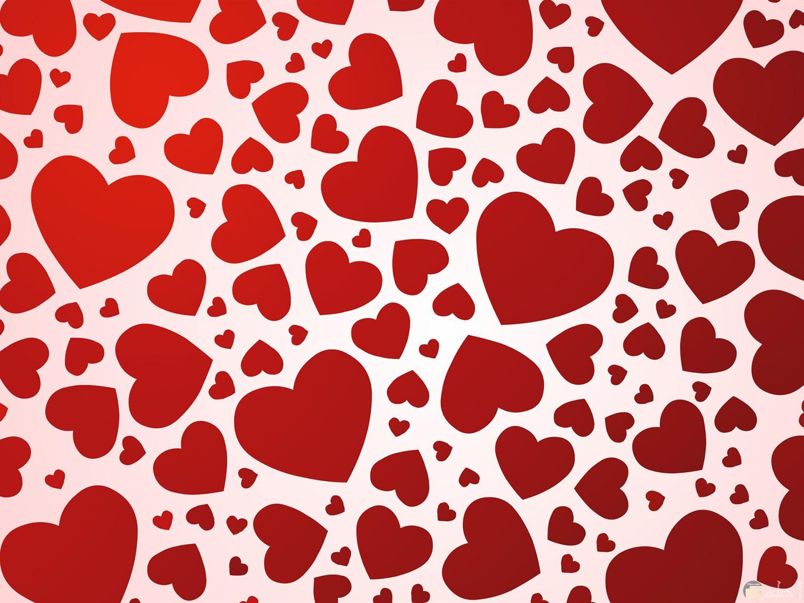 قلوب حمراء كثيرة