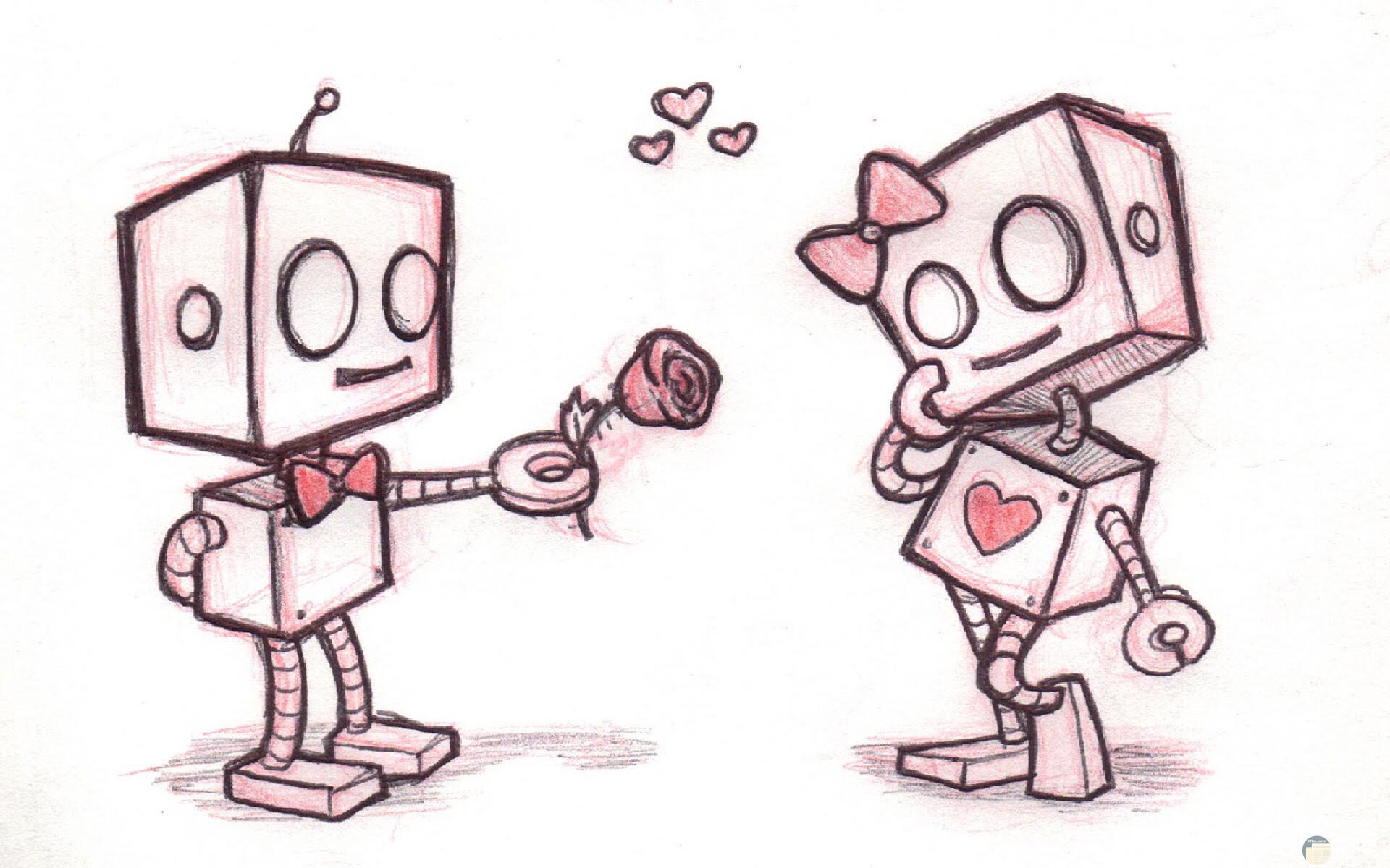 رسم روبوت ملون رومانسي و كيوت جداً.